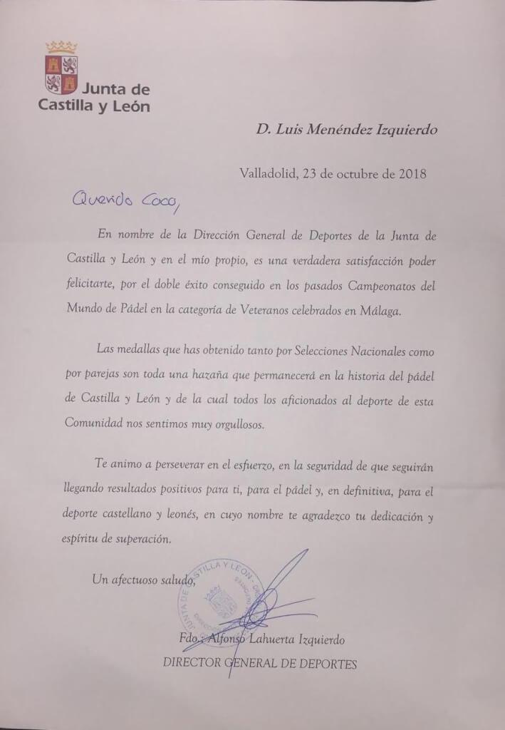 Junta de Castilla y León felicita a Coco Menéndez